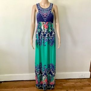 Flying Tomato Embroidered Halter Maxi Dress